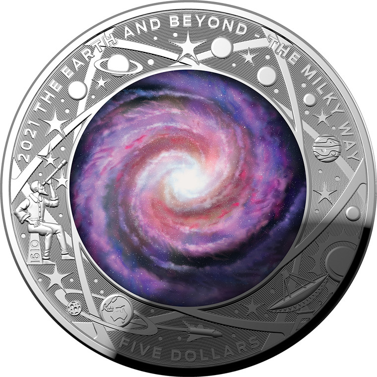 The Earth & Beyond - The Milky Way 2021 $5 Silver Proof Colour Domed Coin - reverse