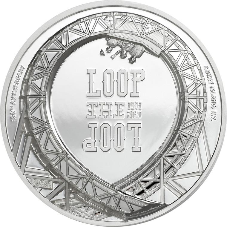 2021 $5 Loop The Loop 1oz Silver Proof Coin - reverse