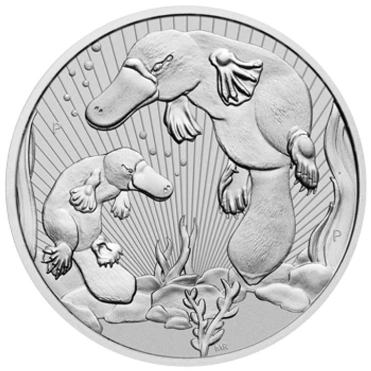 2021 Australian Platypus Mother & Baby 2oz Silver Piedfort Bullion Coin - reverse