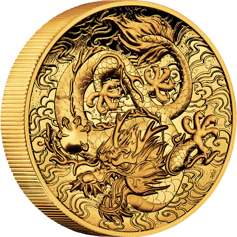 Chinese Myths and Legends Dragon 2021 2oz Gold Proof High Relief Coin - reverse