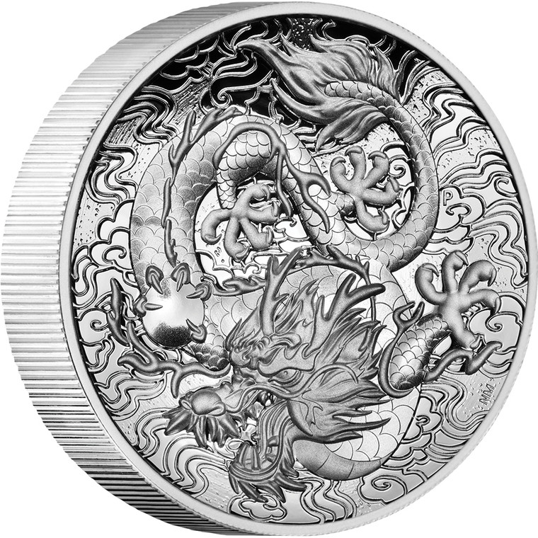 Chinese Myths and Legends Dragon 2021 2oz Silver Proof High Relief Coin - reverse