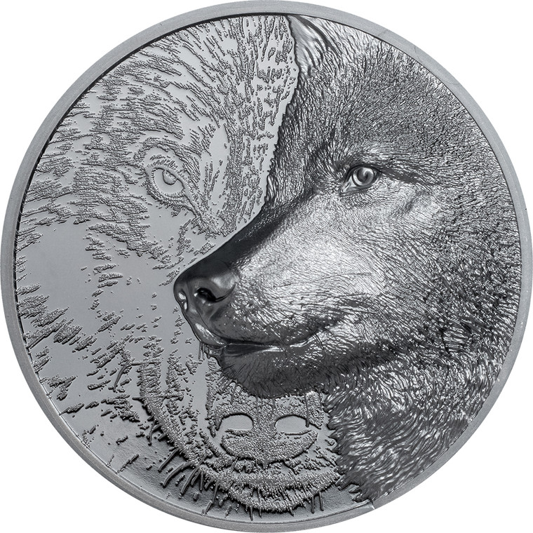 021 Mystic Wolf 2oz Silver Black Proof Coin - reverse