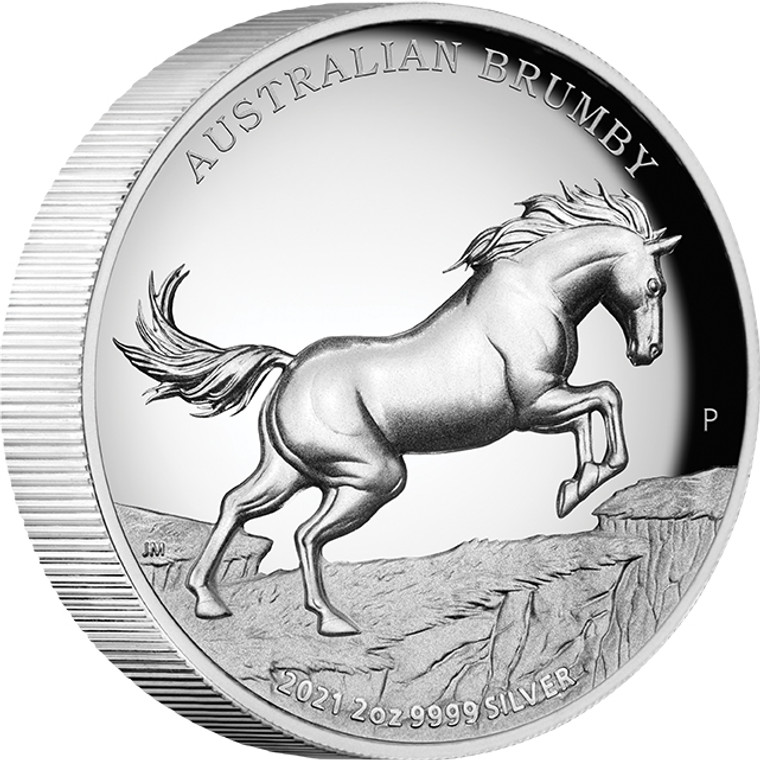Australian Brumby 2021 2oz Silver Proof High Relief Coin - reverse