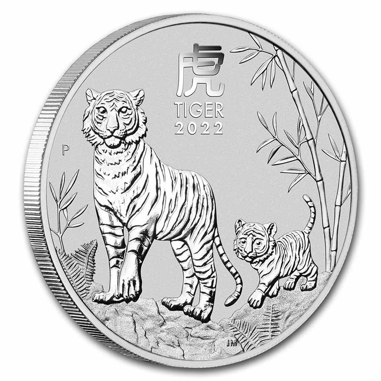 Australian Lunar Year of the Tiger 2022 1oz Silver Bullion Coin - reverse angle view