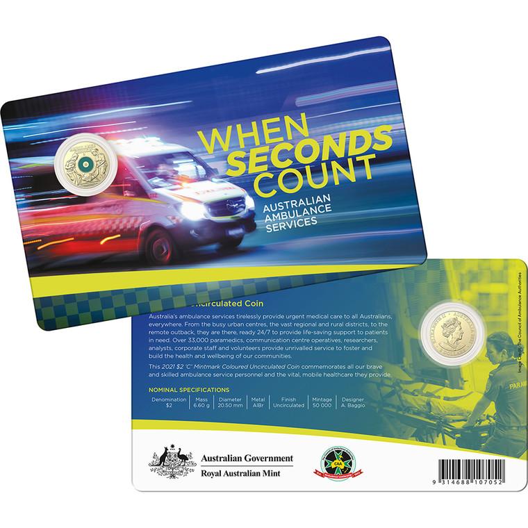 2021 $2 Australian Ambulance Services C Mintmark Unc Coin - in presentation card