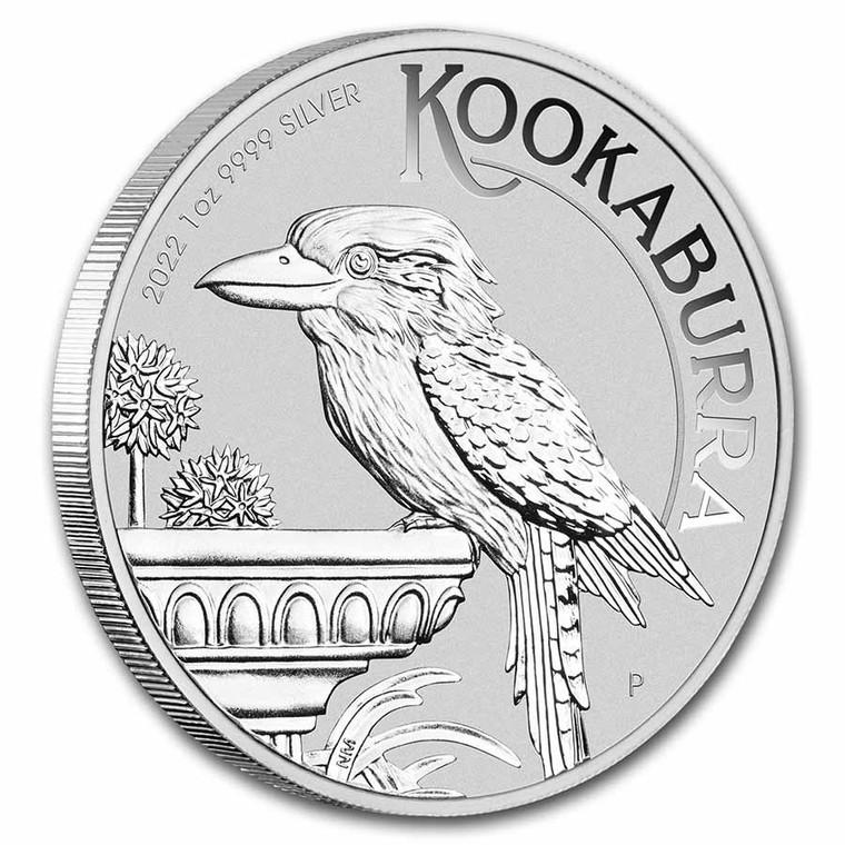 Australian Kookaburra 2022 1oz Silver Bullion Coin - reverse on the edge