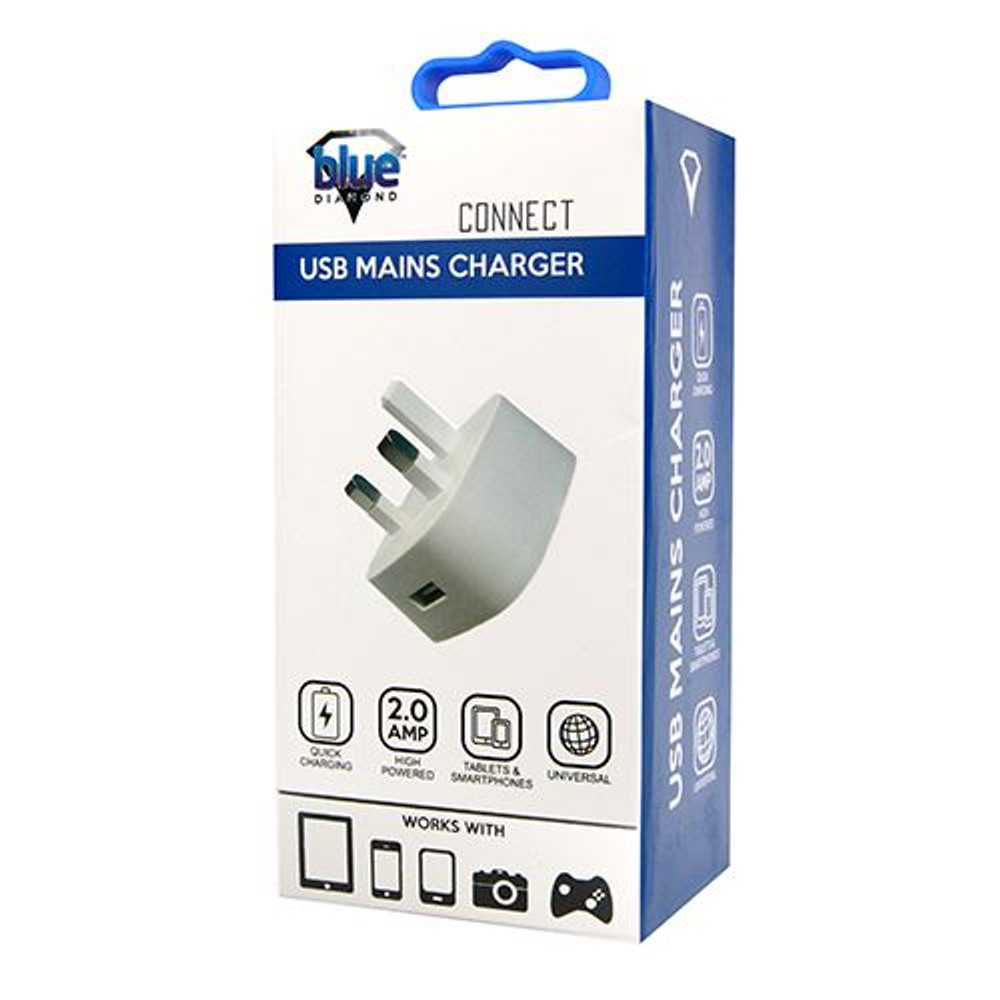 USB MAINS CHARGER 2A