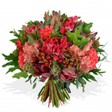 red and pink flower arrangement
