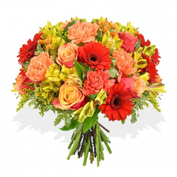 Orange and red flowers bouquet made with red germini and yellow alstroemeria