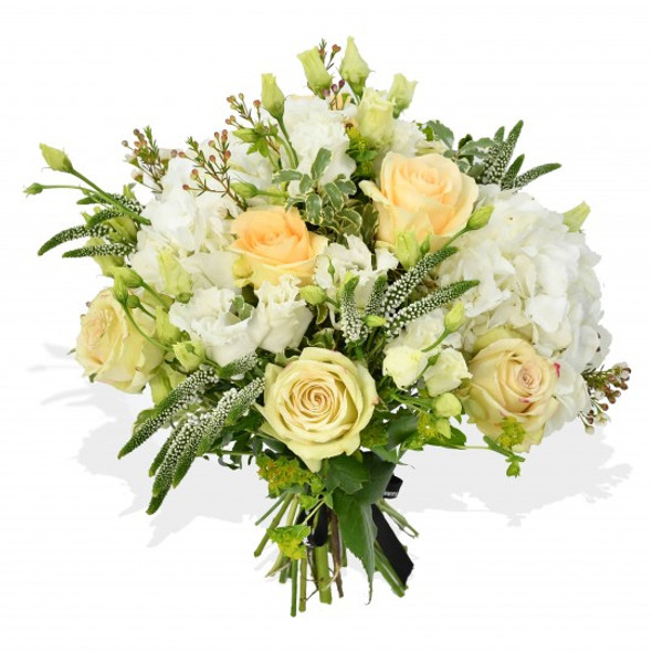 white flowers bouquet made using roses and hydrangea
