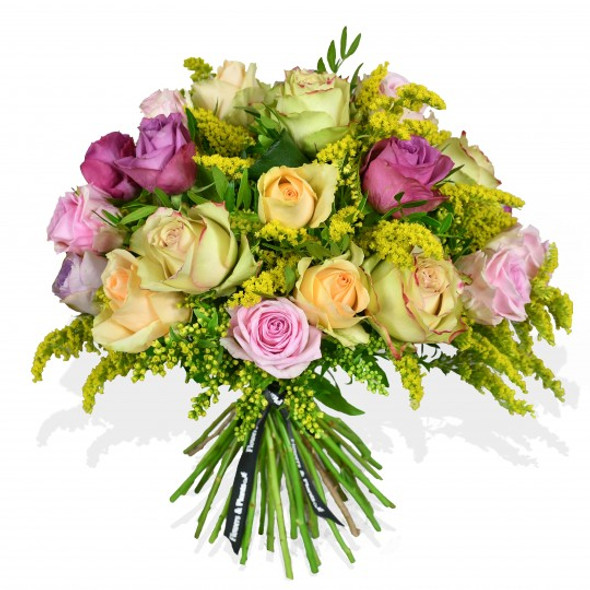 flower arrangement made with roses and solidago