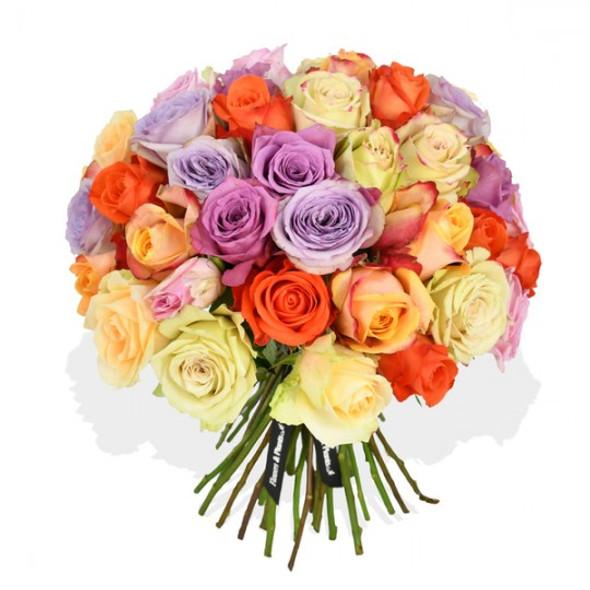 mixed colour roses flower arrangement