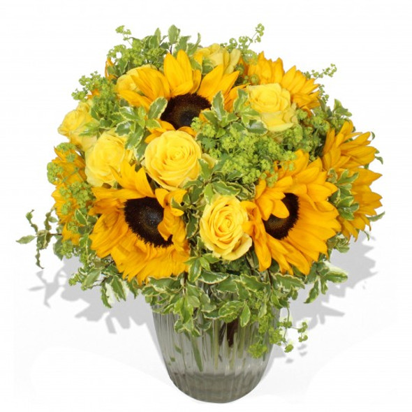 yellow roses and sunflowers bouquet