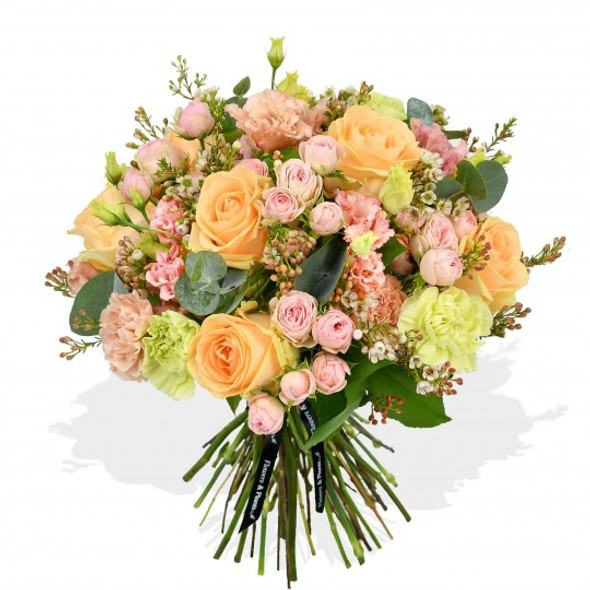peach roses flower arrangement