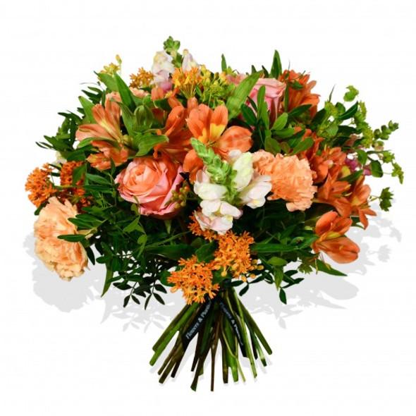 orange roses and pink snapdragon flower arrangement