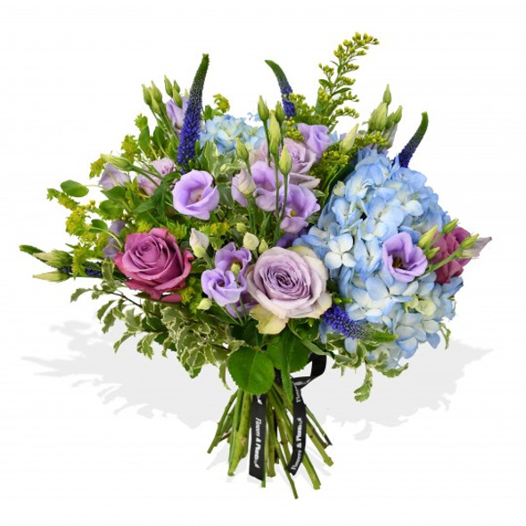 hydrangea and thistle bouquet