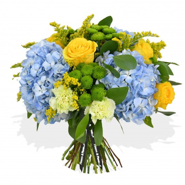 bouquet made of blue hydrangea and yellow roses