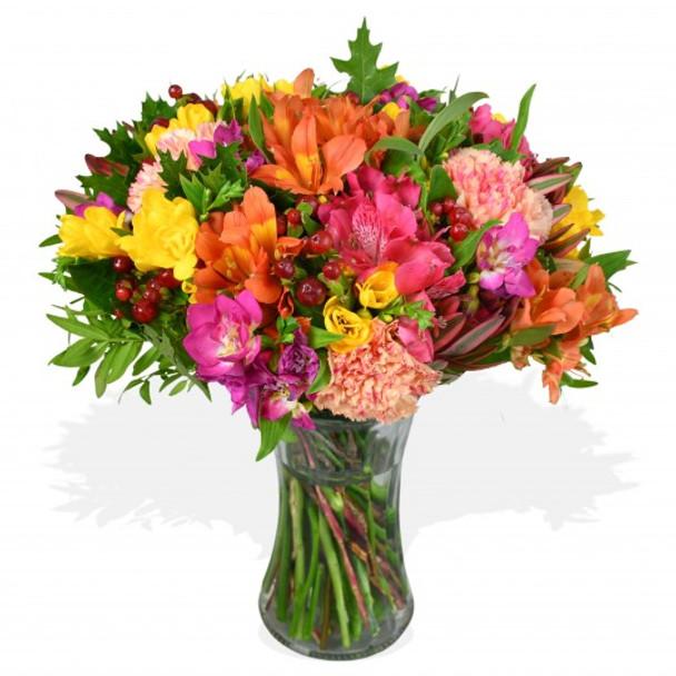 mixed freesia flower arrangement