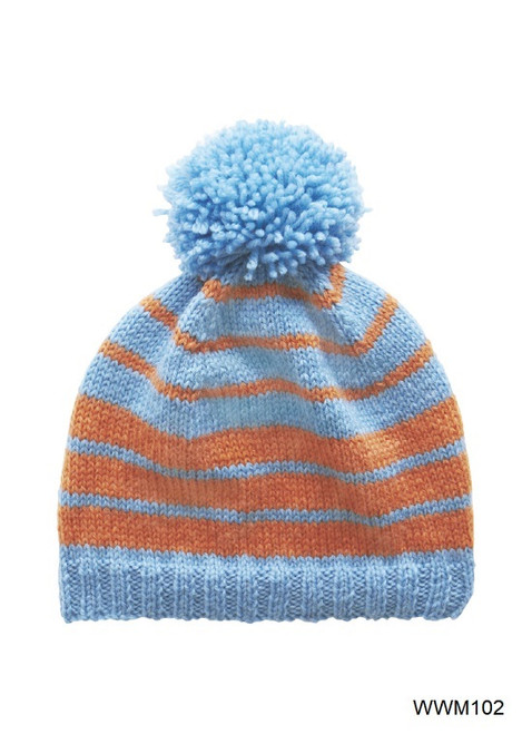 Original Two Colour Stripey 8 Ply Beanie Leaflet