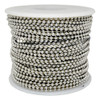The #3 nickel plated steel ball chain spool is available in multiple lengths form 100 feet to 2500 feet and is the cheapest way to buy this size ball chain.  This has a chrome like finish and is commonly used for neckchains and bracelets. It is the same bead size as the U.S. military dog tag chains.