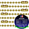 #6 Brass Plated Steel Ball Chains with Connector - 18 Inch Length