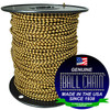 """The #6 antique brown coated ball chain on a black plastic spool with the Genuine Ball Chain Manufacturing stating """"Made In The USA Since 1938"""" & """"A certified green company""""."""