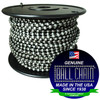 "#6 dungeon ball chain on black plastic spool with the Ball Chain Manufacturing seal stating "" made in the usa since 1938"" and ""certified green business""."