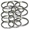 15mm nickel plated steel aka NPS split rings or key rings.