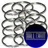 25mm Nickel Plated Steel Split Key Rings with basic ball chain seal/logo.