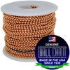 """#6 Copper Ball Chain on a white plastic spool with the Ball Chain Manufacturing seal stating """" Made In The USA Since 1938"""" and """"Certified Green Business."""""""
