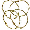 #3 brass plated steel ball chain and bead chain key chains - 6 inch length.