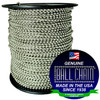 """#8 Nickel Plated Brass Ball Chain Spool with Ball Chain Manufacturing Seal stating """"Made in the USA since 1938 """" and """"certified green business""""."""