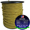 """#10 Yellow Brass Ball Chain Spool with ball chain manufacturing seal stating """"Made in the usa since 1938 and"""" and """"certified green business."""""""