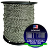 """#10 Stainless Steel Ball Chain Spool with Ball Chain Manufacturing seal stating """"made in the usa since 1938"""" and """"certified green business."""""""
