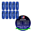 #6 Blue Coated Connectors with the ball chain manufacturing seal stated made in the america since 1938.