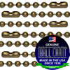 24 inch pre-cut medieval brass ball chain necklaces that are 2.4mm diameter beads and 24 inches long. Great way to save money at the chains come pre-assembled with connectors. Commonly purchased for use as necklaces, neck chains or long decorative light pulls.