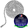 #6 36 inch nickel plated steel ball chain pre cut with connecter. This is commonly used as replacement fan and light pull chains for high ceilings.