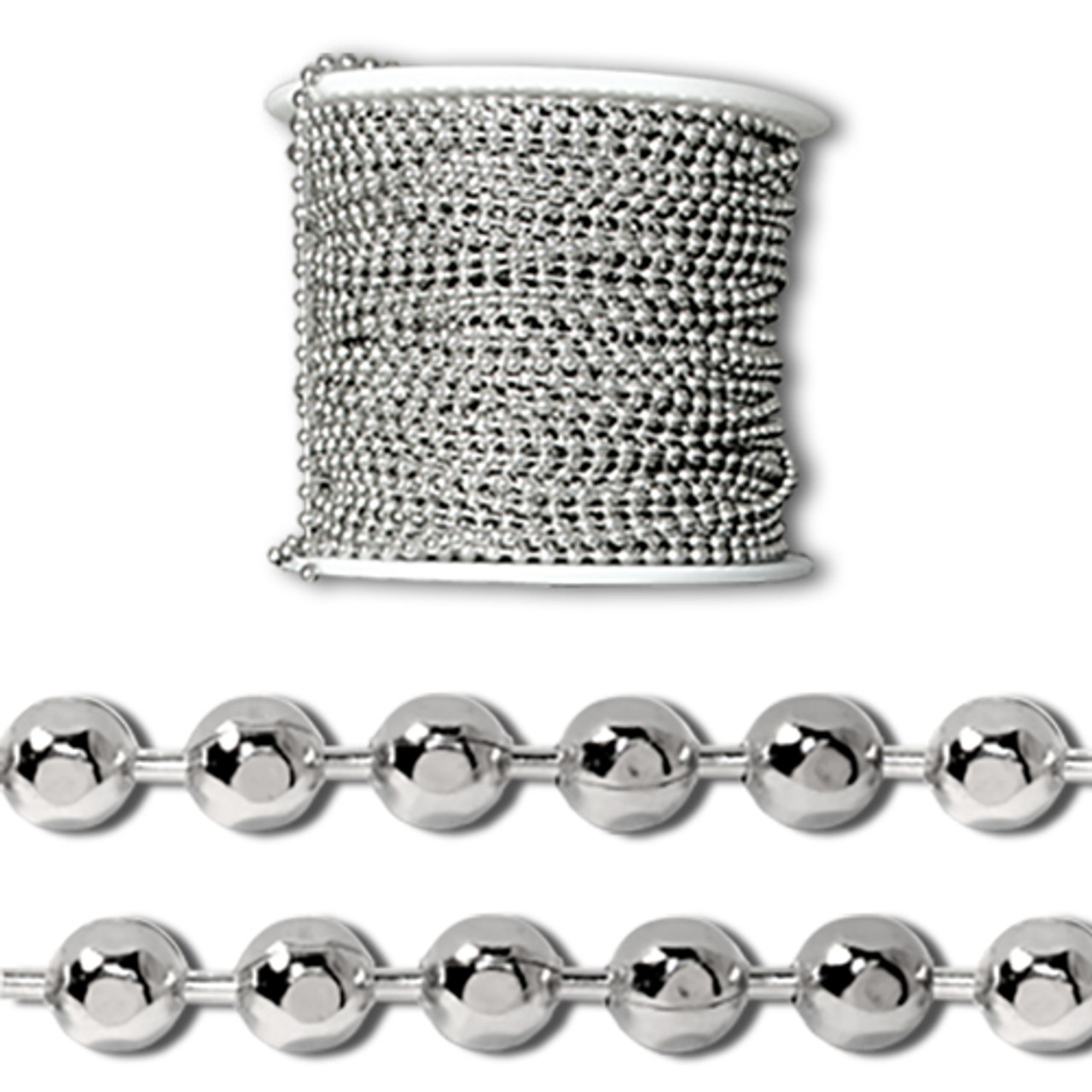 3.2 mm diameter sterling silver faceted ball chain spool that comes in ultiple lengths.