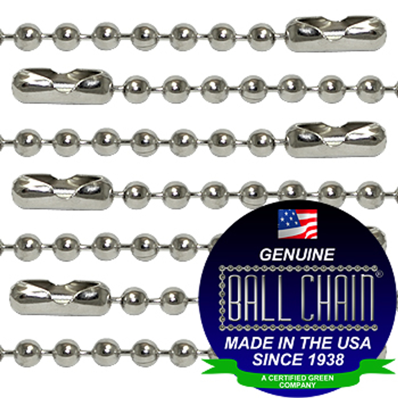 #2 Nickel Plated Brass Ball Chains with Connector - 30 Inch Length