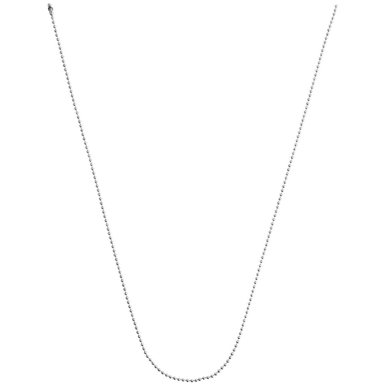 #3 24 inch ball chain necklace and neck chain unclasped in v shape.