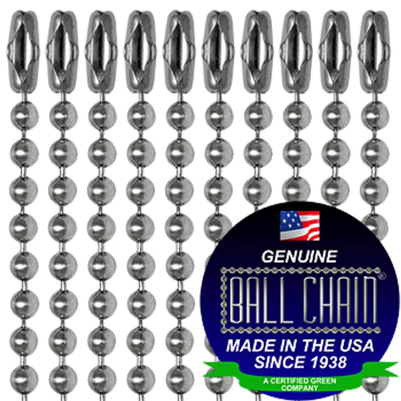 #3 Stainless Steel Ball Chains with Connector - 24 Inch Length end of chains in rows with ball chain seal on the