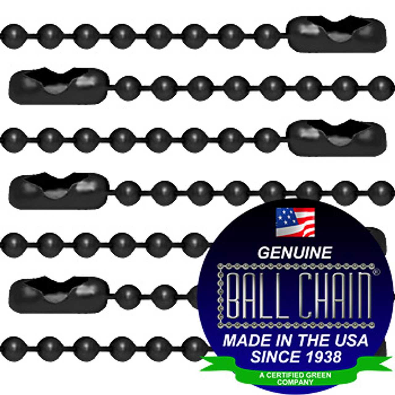 #3 Black Coated Ball Chains with Connector - 24 Inch Length