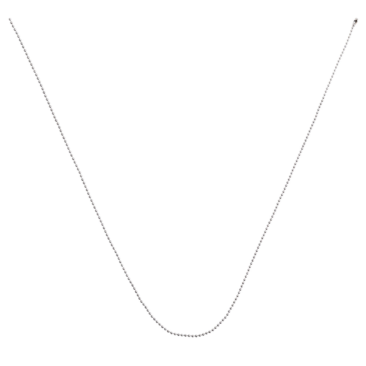 Unclasped 30 inch stainless steel bead chain neck chain.