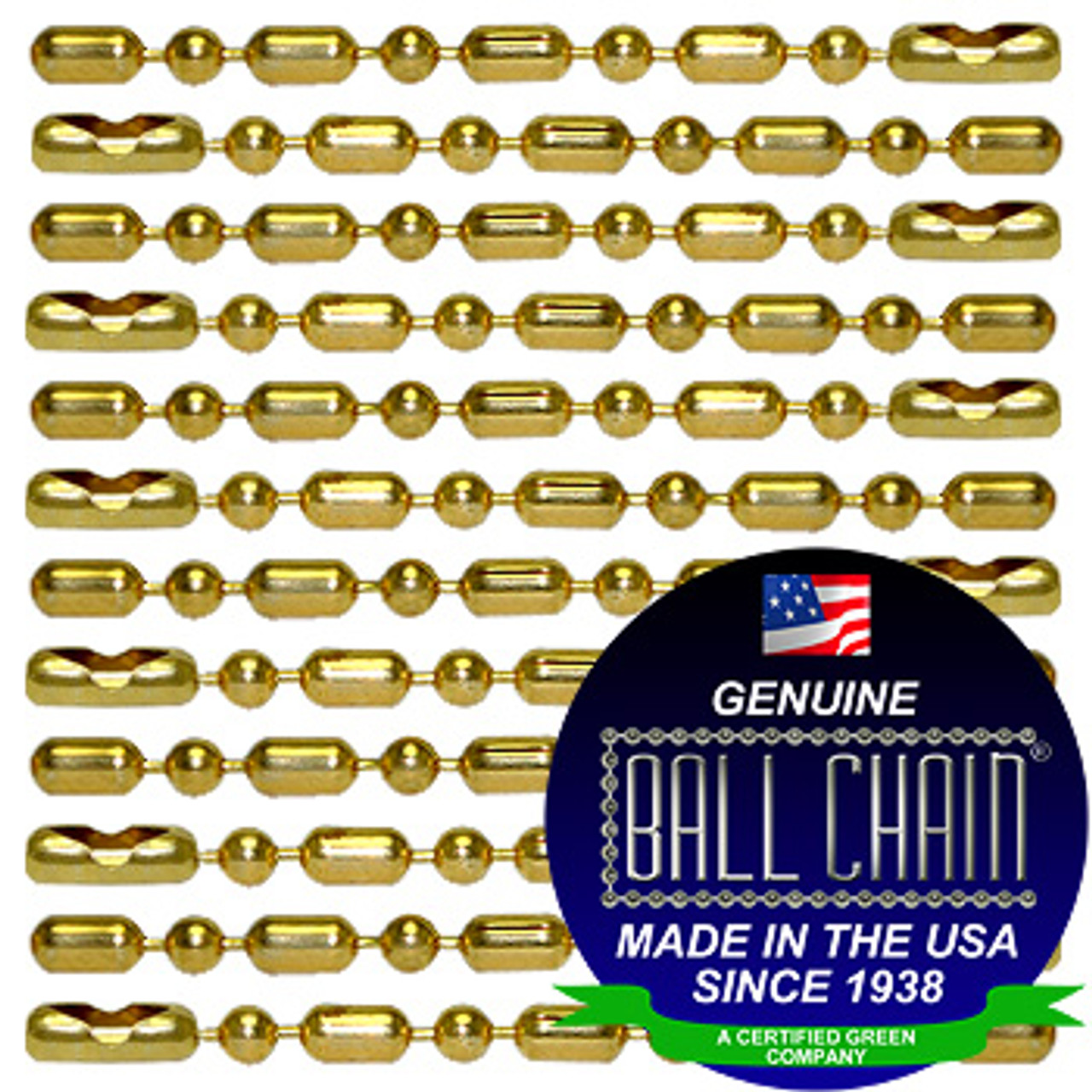 #3 Gilding Metal Ball-Bar Style Ball Chains with Connector - 36 Inch Length
