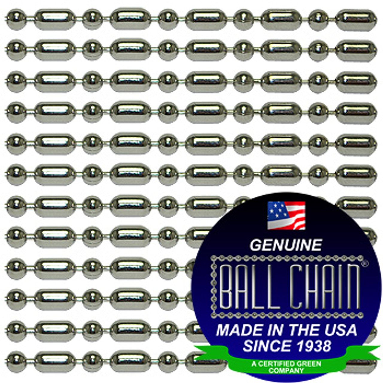 #3 Nickel Plated Steel Ball-Bar Style Ball Chains with Connector - 38 Inch Length