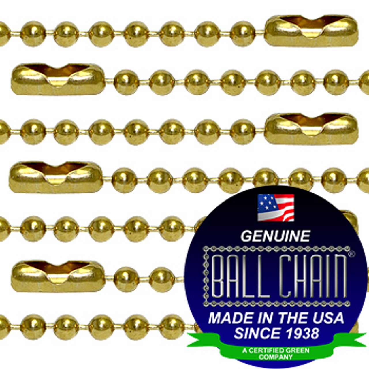 #6 Brass Plated Steel Ball Chains with Connector - 12 Inch Length