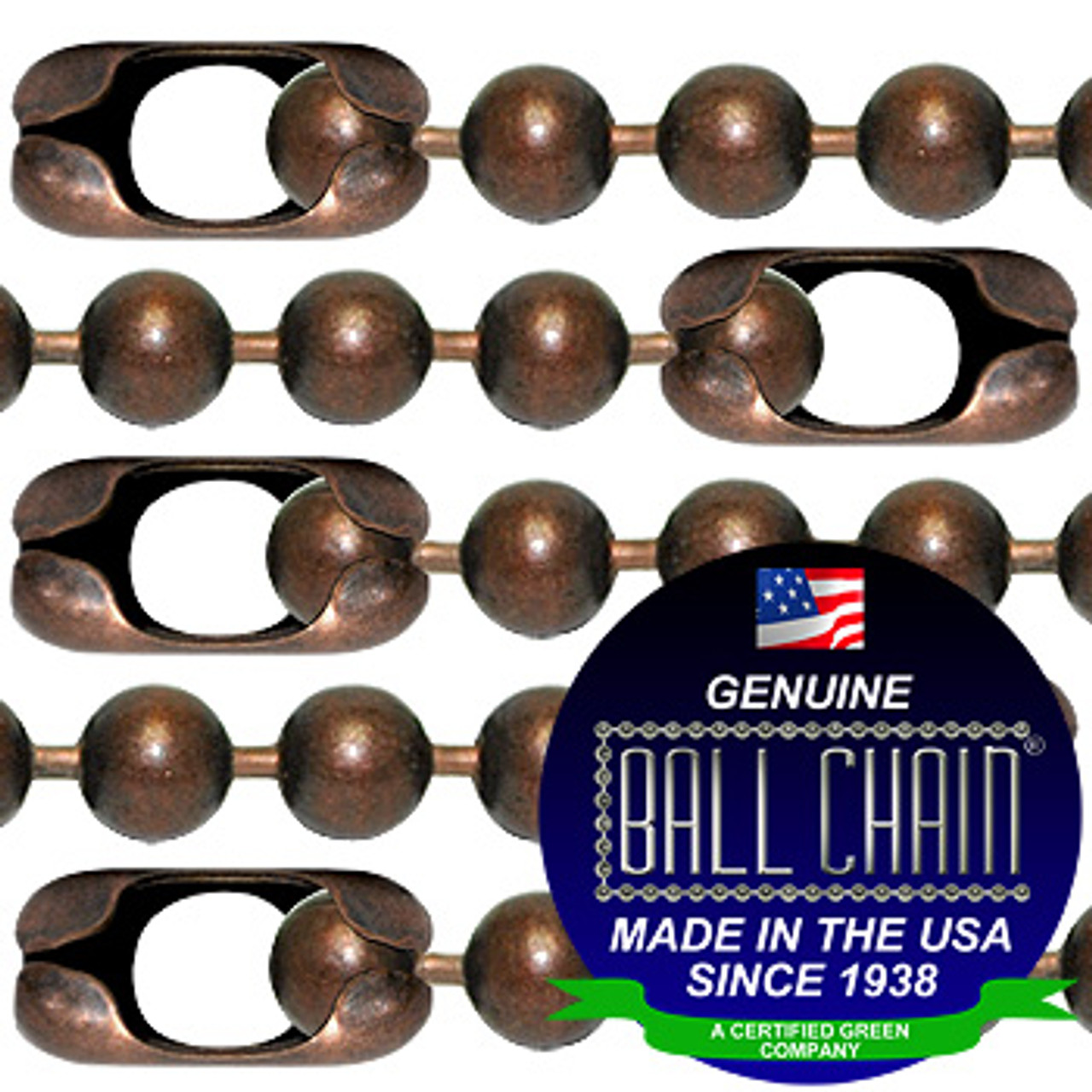 #13 Mystic Red Finish Ball Chains with Connector - 18 Inch Length