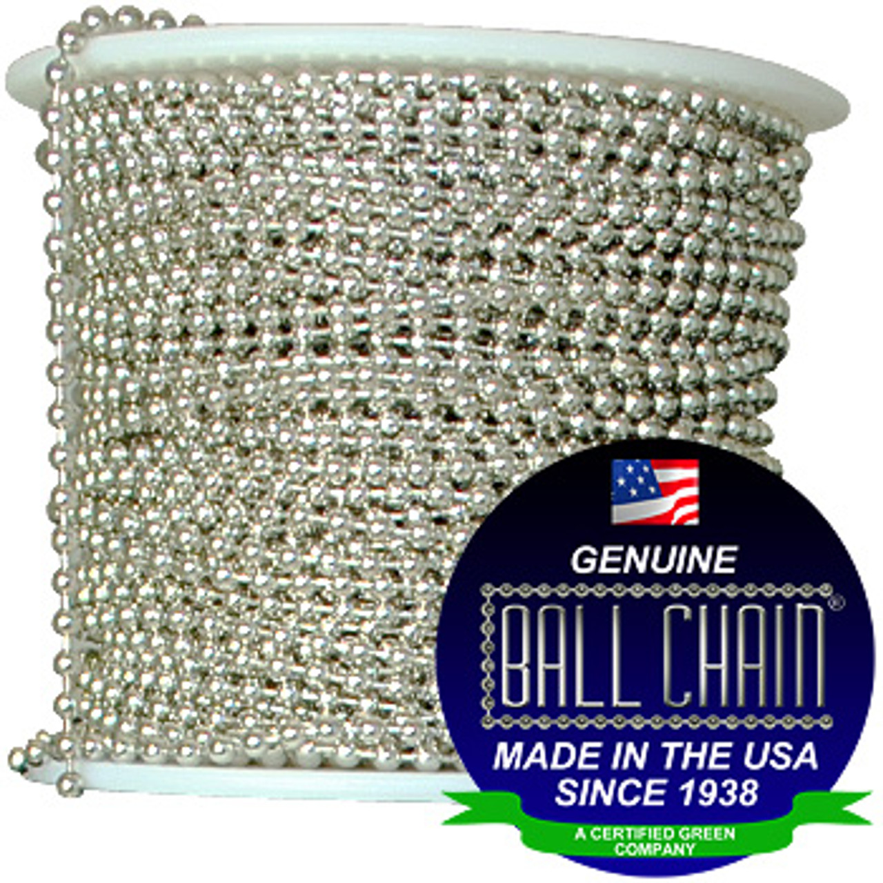 #2 Aluminum Ball Chain Spool that comes in 100 feet, 250 feet, 500 feet, 1000 feet and 200 feet. It is also known as #2 aluminum bead chain spool.
