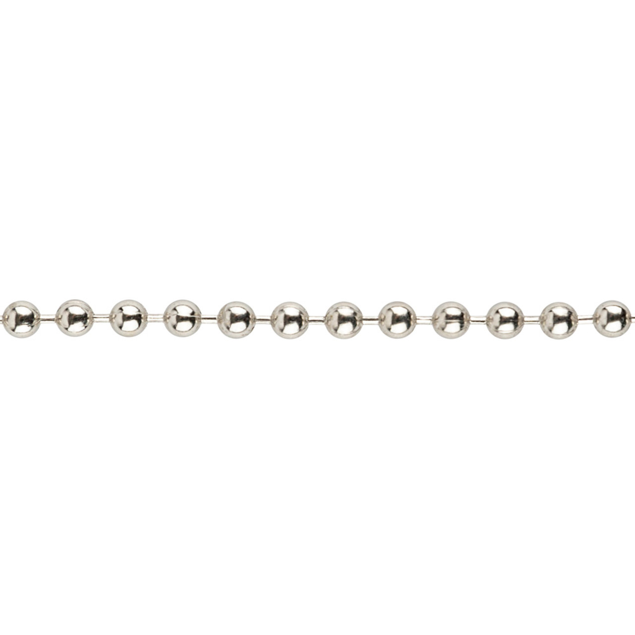 Close up shot of the #6 nickel plated steel ball chain.