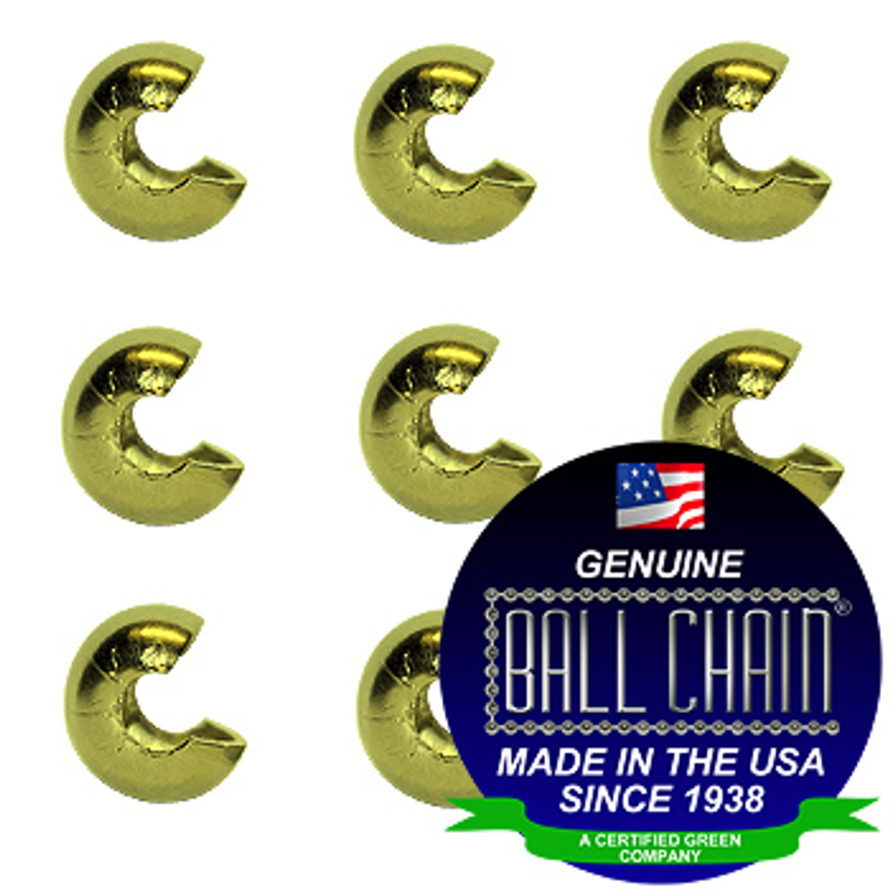 1/8 Inch Yellow Brass Open Ball